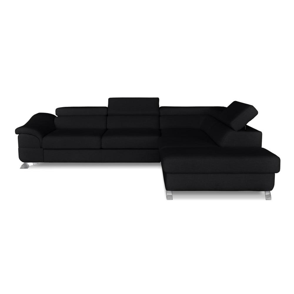 Černá rohová rozkládací pohovka Windsor & Co. Sofas Gamma, pravý roh