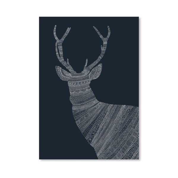 Plakát Stag Blue od Florenta Bodart, 30x42 cm