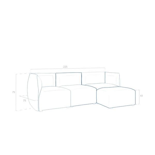 Béžová pohovka pro tři s podnožkou Vivonita Cube Sawana