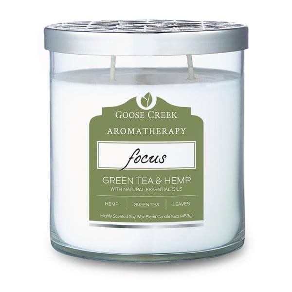 Świeczka zapachowa w szklanym pojemniku Goose Creek Hemp & Green tea, 60 godz. palenia