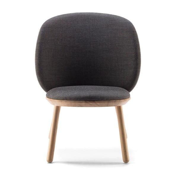 Naïve szürke fotel kőrisfa konstrukcióval és bőr részletekkel - EMKO