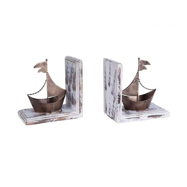 Sada 2 knížních zarážek Brass Ship