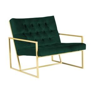 Zelené křeslo s konstrukcí ve zlaté barvě Mazzini Sofas Bono