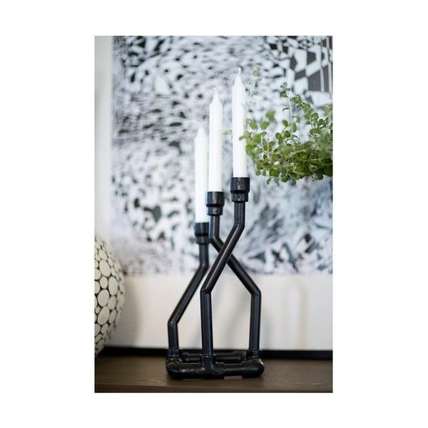 Černý svícen Canett Geo, 35 cm