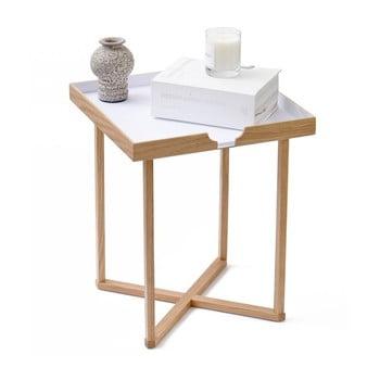 Măsuță auxiliară din lemn cu blat detașabil Wireworks Damieh, 37 x 45 cm, alb imagine
