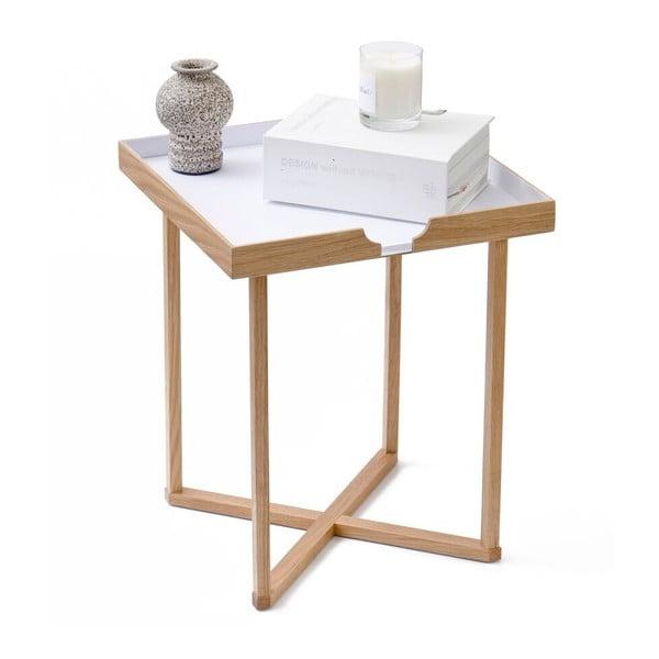 Biely odkladací stolík z dubového dreva Wireworks Damieh, 37x45cm