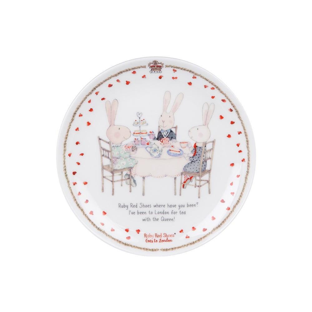 Dezertní talíř z kostního porcelánu Ashdene Ruby Red London Cousins, ⌀15cm
