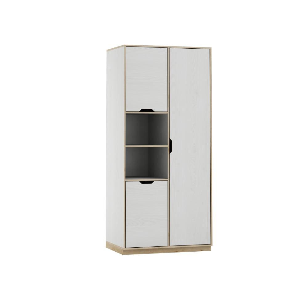 Bílá třídveřová šatní skříň s dřevěným dekorem Szynaka Meble Happy