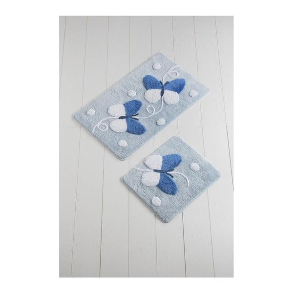 Sada 2 bílo-modrých koupelnových předložek Mari
