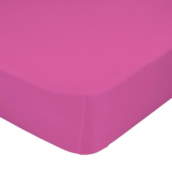Růžové elastické prostěradlo HF Living Basic, 90x200cm