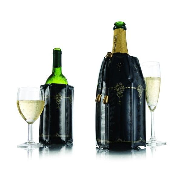 Sada chladicích návleků na víno VacuVin, černozlaté, 2 ks