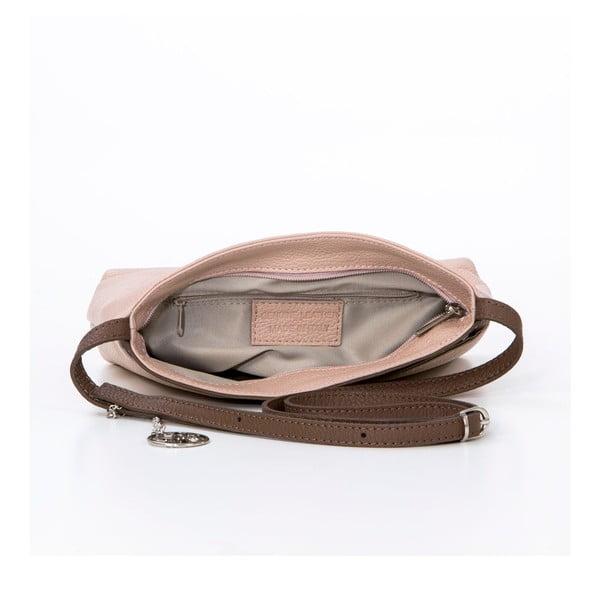 Kožená kabelka Francesco, pudrová/hnědá