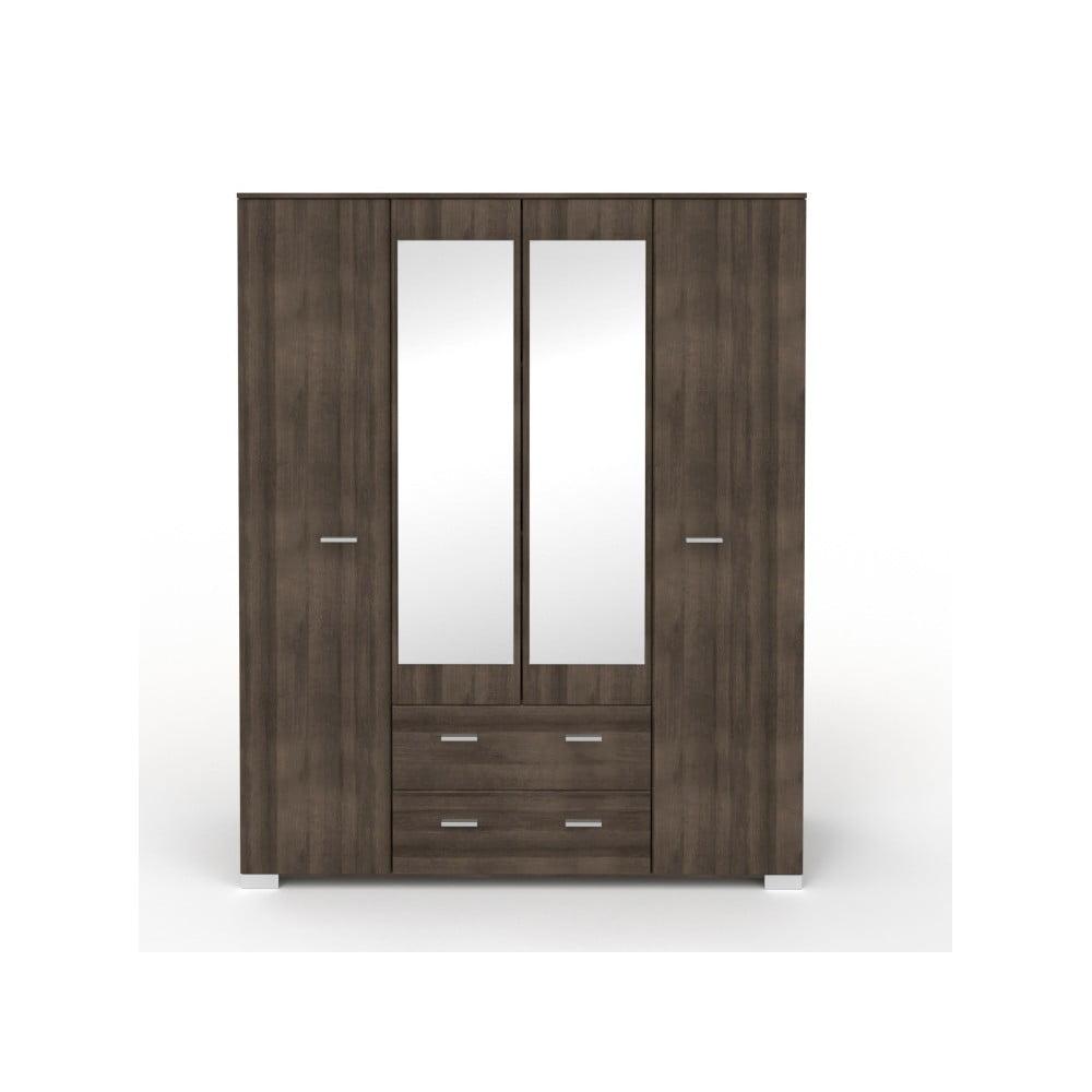 Čtyřdveřová šatní skříň v dekoru ořechového dřeva se 2 zásuvkami a zrcadlem Parisot Alix