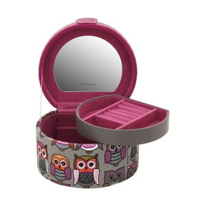Růžová kulatá šperkovnice Owlivia