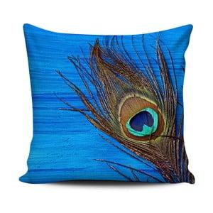 Modrý polštář Home de Bleu Peacock, 43x43cm