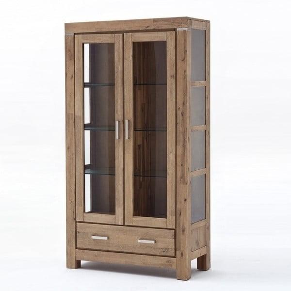 Vitrină cu două uși din lemn de salcâm SOB Sydney, maro deschis