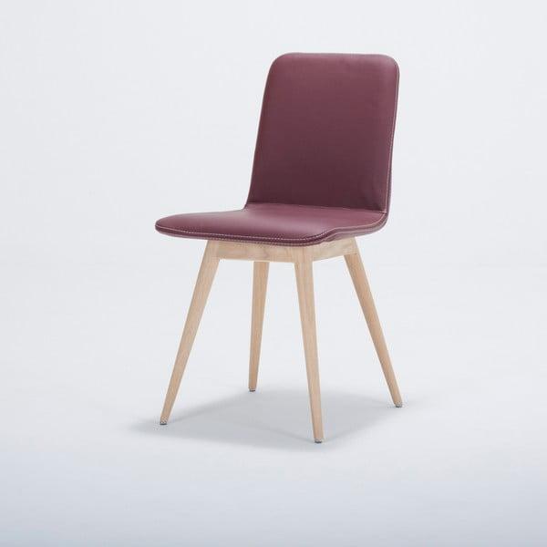 Jídelní židle z masivního dubového dřeva s koženým vínovým sedákem Gazzda Ena