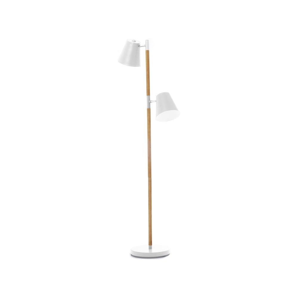 Bílá volně stojící lampa s dřevěnými detaily Leitmotiv Rubi