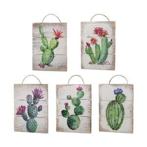 Sada 5 dřevěných závěsných dekorací s motivy kaktusů Unimasa
