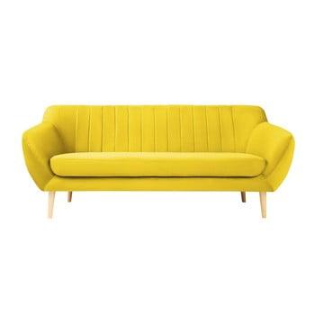 Canapea cu 3 locuri și picioare de culoare deschisă Mazzini Sofas Sardaigne, galben