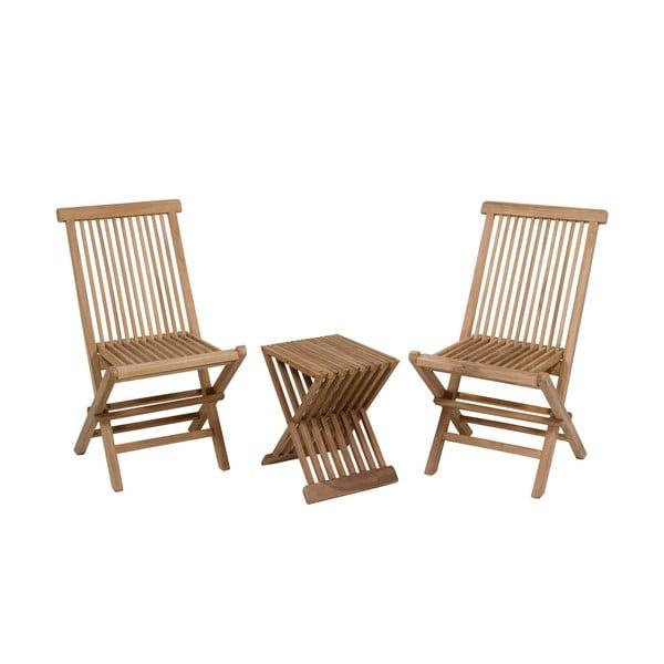 Zestaw 2 krzeseł i stołu z drewna tekowego Santiago Pons Taar