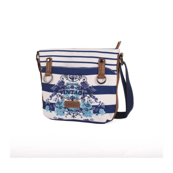 Modro-bílá kabelka Lois, 26 x 23 cm