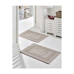 Sada 2 šedých bavlněných koupelnových předložek Bathmat Garrudo, 50 x 70 cm