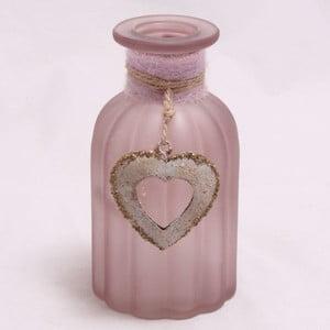 Starorůžová váza se slaměnou dekorací Dakls Heart
