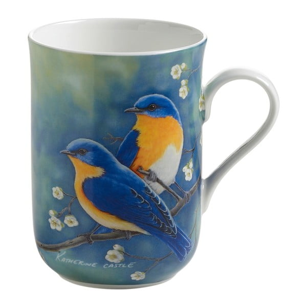 Hrnek z kostního porcelánu Maxwell & Williams Birds Bluebirds, 350 ml