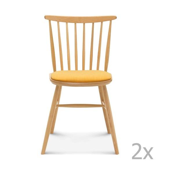 Sada 2 dřevěných židlí se žlutým polstrováním Fameg Amleth