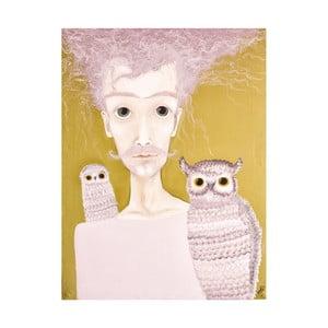 Autorský plakát od Lény Brauner Pán se sovami, 60x70 cm