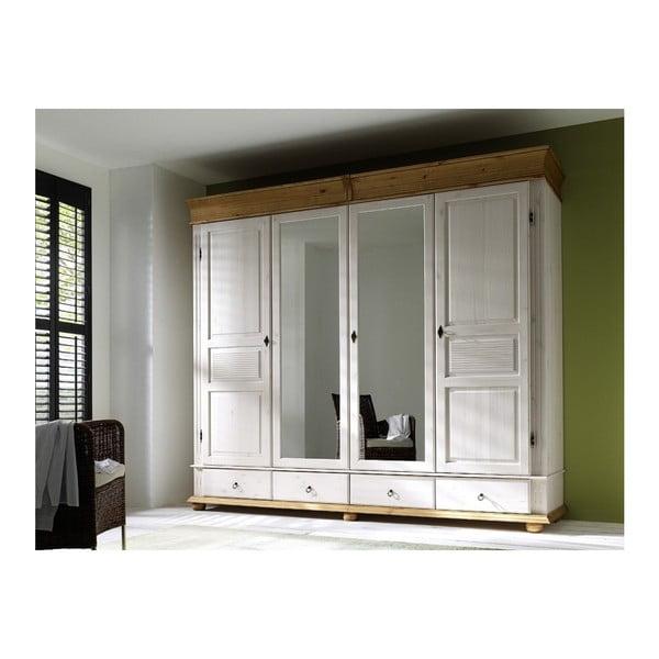 Dulap înalt cu patru uși din lemn de pin OB Harald, alb
