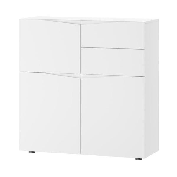 Comodă cu 3 uși și 2 sertare Szynaka Meble Lucca, alb