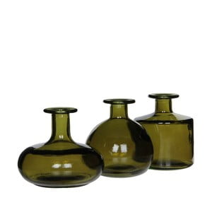 Sada 3 zelených skleněných váz Mica Simone