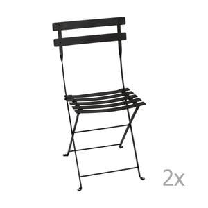 Set 2 scaune grădină pliabile Fermob Bistro, negru