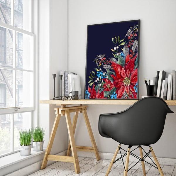 Plakát s květinami, černé pozadí, 30 x 40 cm