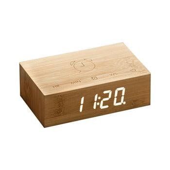 Ceas deșteptător cu LED Ginko Flip Click, maro deschis