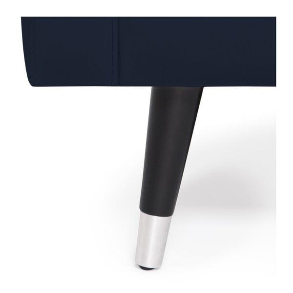 Námořnicky modrá trojmístná pohovka s nohami ve stříbrné barvě Vivonita Harper Velvet