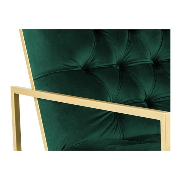 Fotoliu Mazzini Sofas BONO cu structură metalică, auriu - verde