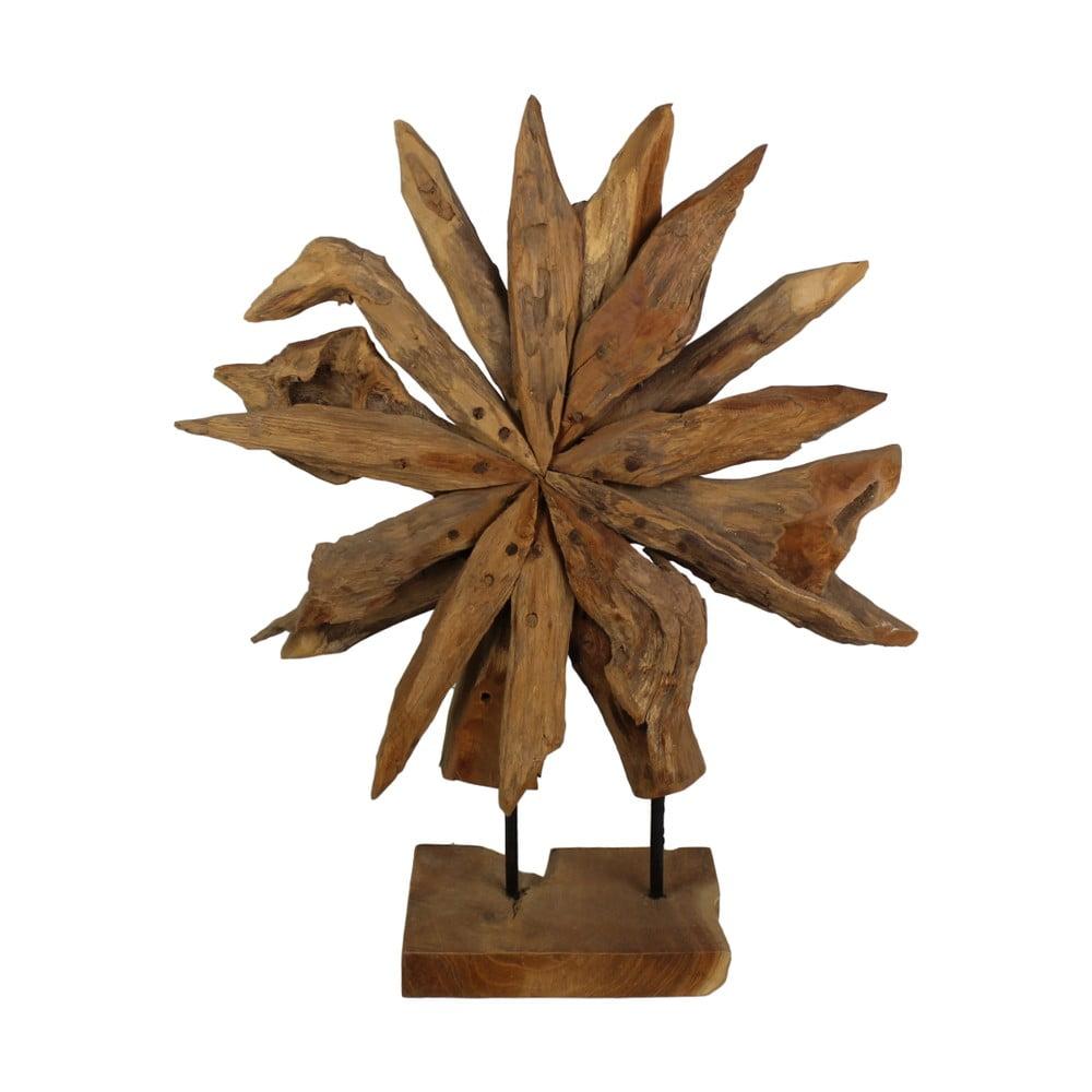 Dekorace z teakového dřeva HSM Collection Sunflower, 40 x 50 cm