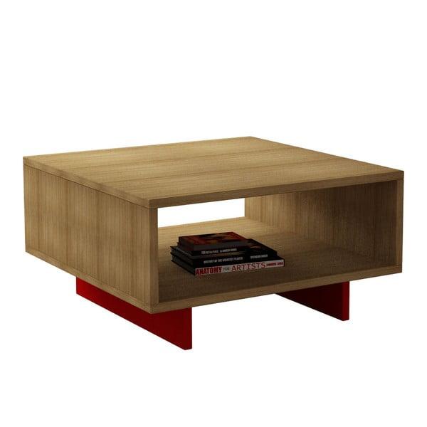 Kávový stolek Hola, dub/červený