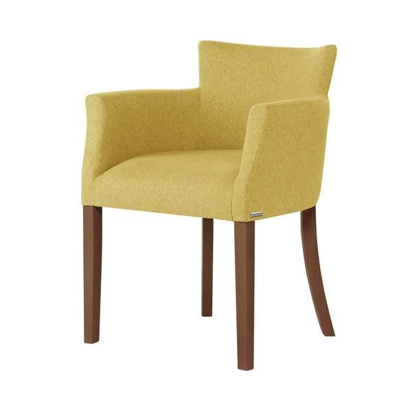 Santal citromsárga bükk szék, sötétbarna lábakkal - Ted Lapidus Maison