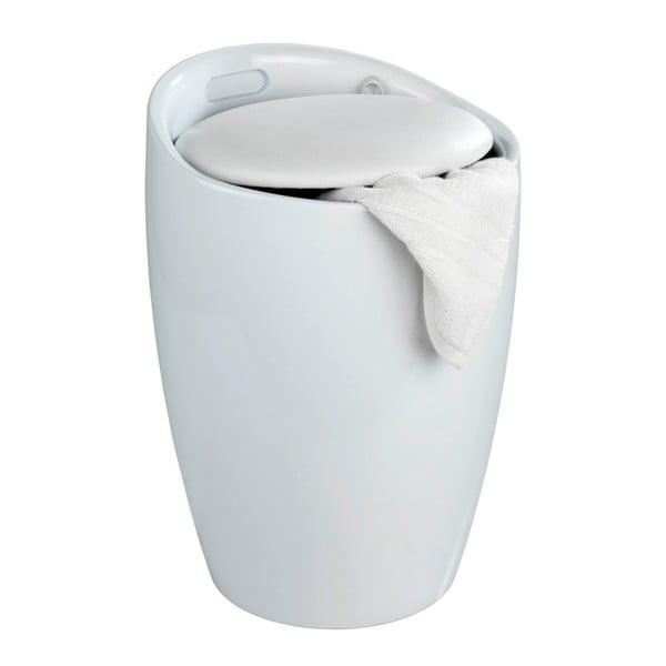 Biely kôš na prádlo a taburetka v jednom Wenko Candy, 20 l