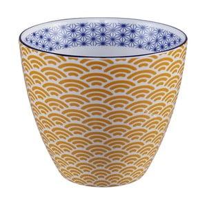 Žluto-bílý hrnek na čaj Tokyo Design Studio Star/Wave, 350ml