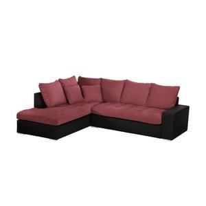 Černo-růžová pohovka Modernist Crinoline, levý roh
