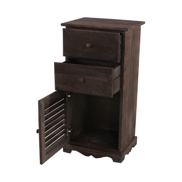 Hnědá dřevěná komoda/noční stolek Mendler Shabby