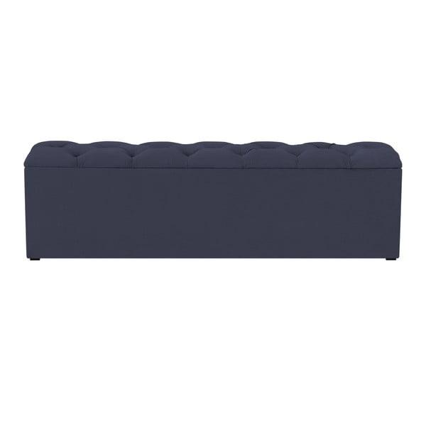 Tmavě modrý otoman k posteli s úložným prostorem Kooko Home Manna, 47 x 140 cm