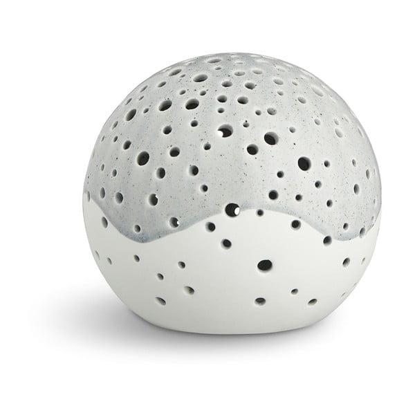 Sivý vianočný svietnik z kostného porcelánu Kähler Design Nobili, ⌀ 14 cm
