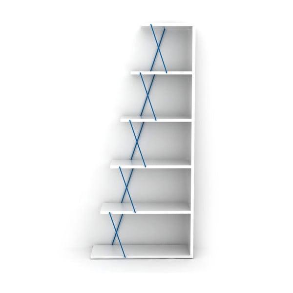Bílá knihovna s modrým detailem Rafevi Tars Mini