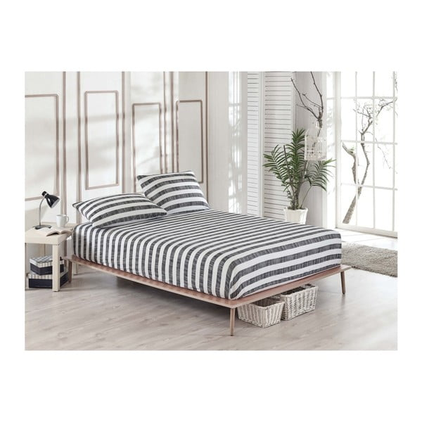 Clementino Gris Hahno elasztikus lepedő és párnahuzat szett egyszemélyes ágyhoz, 100 x 200 cm